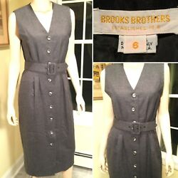 BROOKS BROTHERS Gray Wool Sleeveless Button-Down Belted Shift Dress Size 6Small