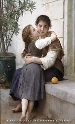 A Little Coaxing, William Bouguereau, Reproduction In Oil, 40x25