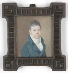 Portrait Of A Young Gentleman French Miniature Ca. 1810