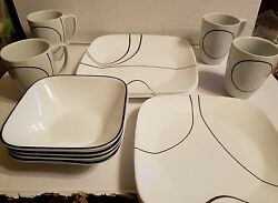 Corelle Square Simple Lines 16-piece Dinnerware Set Dishes Plate Dining
