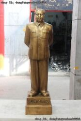 47''chinese Pure Bronze Copper Great Leader Mao Ze Dong Maozedong Stand Statue