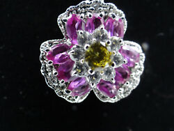 Pendant And Earrings Flower Set With Pink And White Very Good Quality Czs.