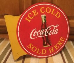 Coca Cola Flange Ice Cold Sold 2 Sided Button Vintage Coke Soda Flange Signs