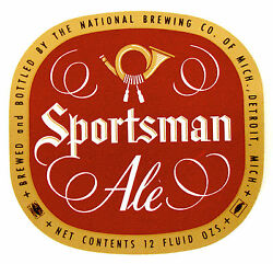 National Brewing Co Of Mich Sportsman Ale Beer Label Mi 12oz