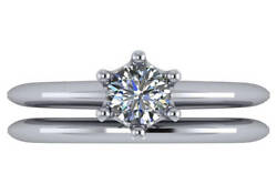 0.52 Ct G Vs2 Round Ideal Cut Diamond Solitaire Knife Edge Ring 14k White Gold