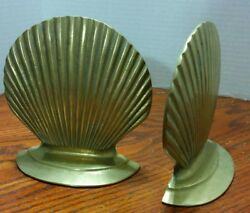 Leonard Silver Mfg. Co. Set Of Brass Clam Shell Bookends 5 1/2