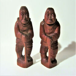 Vintage Greenland Inuit And039and039man And Womanand039and039 Wood Carving Indigenous Eskimo Art