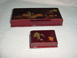 Antique Japanese Set Jewelry Boxes Red Lacquer Mother Pearl Pagoda Bird Mtn Exc