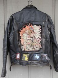 Vintage Indian Leather Motorcycle Jacket 50's Or 60's Sz 42 Heavy Nice Patina