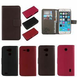 For Doogee/other Phone Model - Genuine Real Flip Leather Case Cover Skin Wallet