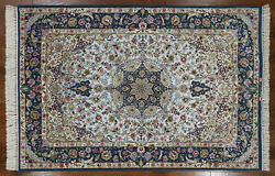 Signed Authentic Oriental Hand Knotted Silk Area Rug 5' X 8' - SA2711