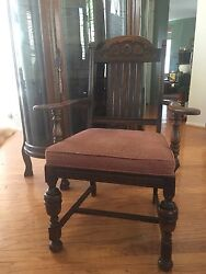Antique Ornate Wood Acorn And Leaves Arm Chair Dinning Desk Accent Piece Sturdy