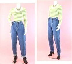 Vintage Bill Blass Easy Fit Med Wash High Waisted Tapered Leg Mom Jeans Sz 10