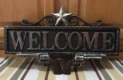 Welcome Sign Wall Home Decor Star Ranch Gun Vintage Style Country Western Horse