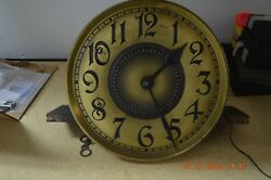 Antique Embee Grandfather Clock Movement With Dial For Parts Or Repair