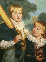 Vtg 20x18 Completed Needlepoint Canvas Tapestry- Baseball Brothers Boys Fiqural
