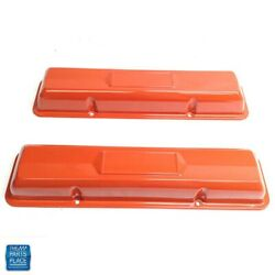 1959-1975 Chevy Valve Covers Small Block Center Decal Indent No Holes Orange Pr