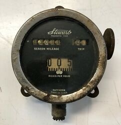 Stewart Magnetic Type Speedometer W/ Trip For Parts Or Rebuild Not Seized