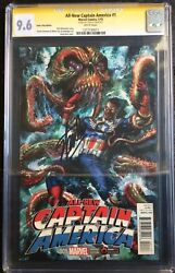 All New Captain America 1 Gamestop Powerup Variant Signed Stan Lee Cgc Ss 9.6