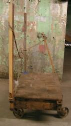 Fay And Egan Co. Vintage / Antique Wooden Cart Steampunk With Cast Iron Wheels