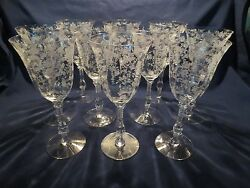 10 Cambridge Rose Point Etched Water Wine Goblets Stems 3121 10 Oz