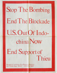 People's Coalition For Peace And Justice Stop The Bombing Rare 2-sided Poster 1972