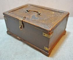 Original Old Antique Hand Crafted Brass Fitted Wooden Merchants Cash Money Box
