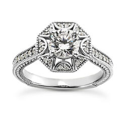 1.25 Ct I Si2 Natural Diamond Antique Halo Engagement Ring 14k White Gold Size 6