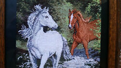 Horses In The River Hand Made Needlepoint Hand Crafted Tapestry Gobelin Rare