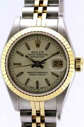 Rolex Automatic Oyster Perpetual Date Just 18k And Stainless Steel Womenand039s Watch