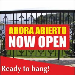Ahora Abierto Now Open Banner Vinyl /mesh Banner Sign Flag Store Restaurant Shop
