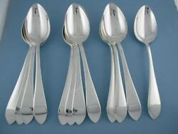 12 Sterling Dominick And Haff 7 1/8 Oval Soup Dessert Spoons Pointed Antique Mint