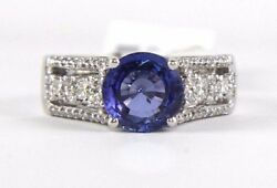 Round Blue Sapphire And Diamond Cocktail Ring Band 18k White Gold 2.71ct