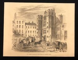Antique 1873 Book Print/illustration St. Jame's Palace In Reign Of Queen Anne