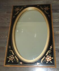Ethan Allen black painted wood stencil wall mirror