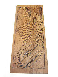 Rickards Red Cecil Dawson Lingcod Plaque Carving West Coast Native Art Indian