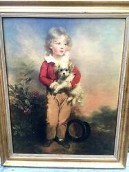 Masterful Antique 18th C. Portrait Painting Litho Boy And Rat Terrier Wow Framed