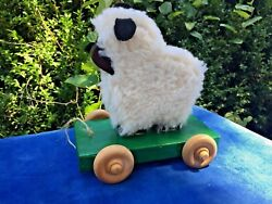 Antique Primitive Wooly Wool Black Mutton Sheep Vintage Pull Toy Wooden Spool