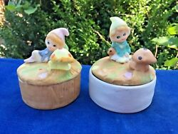 Gnomes Pixies Elves Fairies Set Of 2 Covered Boxes Homco Home Interior Retired