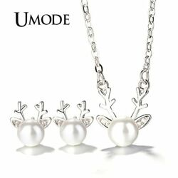 UMODE Small Deer Cute Pearl Studs Earrings Long Chain Necklaces Pendants