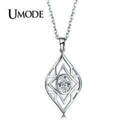 UMODE Charm Long Chain Hollow Eye Big Oval Cubic Zirconia Pendant Necklaces for
