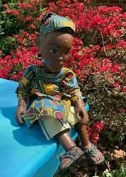 Antique Vintage Puppet Marionette African Woman And Baby In Papoose 17/7 ❤️ Ts17j