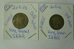 Iraq 1931 And 1938 20 Fils 2 Silver Coins King Faisal And Ghazi 1 Each Low Mintage