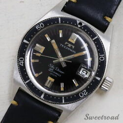 Technos Sky Diver Ref.1903.2-68 Original Black Mirror Dial Used Watch From Japan