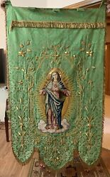 Antique French Hand Embroidery Catholic Priest Vestments Church Panel 36 X 66