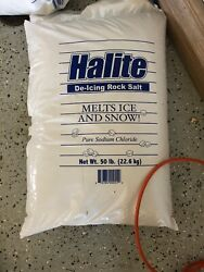 Halite RS25 Premium Ice Melting Rock Salt - Pound Bag Snow Products Garden