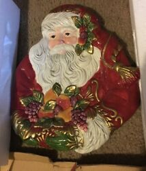 Fitz And Floyd Renaissance Classic Santa Canape Tray/salt And Pepper Shakers