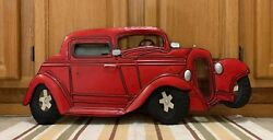 Metal Coupe Shop Chevy Ford Coke Gas Oil Garage Vintage Style Red Wall Decor