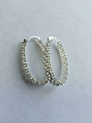 .925 Sterling Silver Plated Oval Hoops W/snap In Closing 40 X 25 Mm X 7 Mm J 387