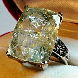Big 17.10 Ct Best Quality Natural Aaaaa..aquamarine Ring 925 S.silver.size 7.0.